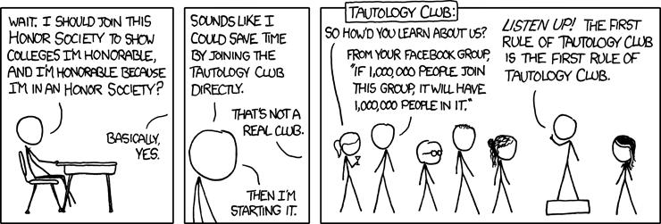 Tautology comic strip